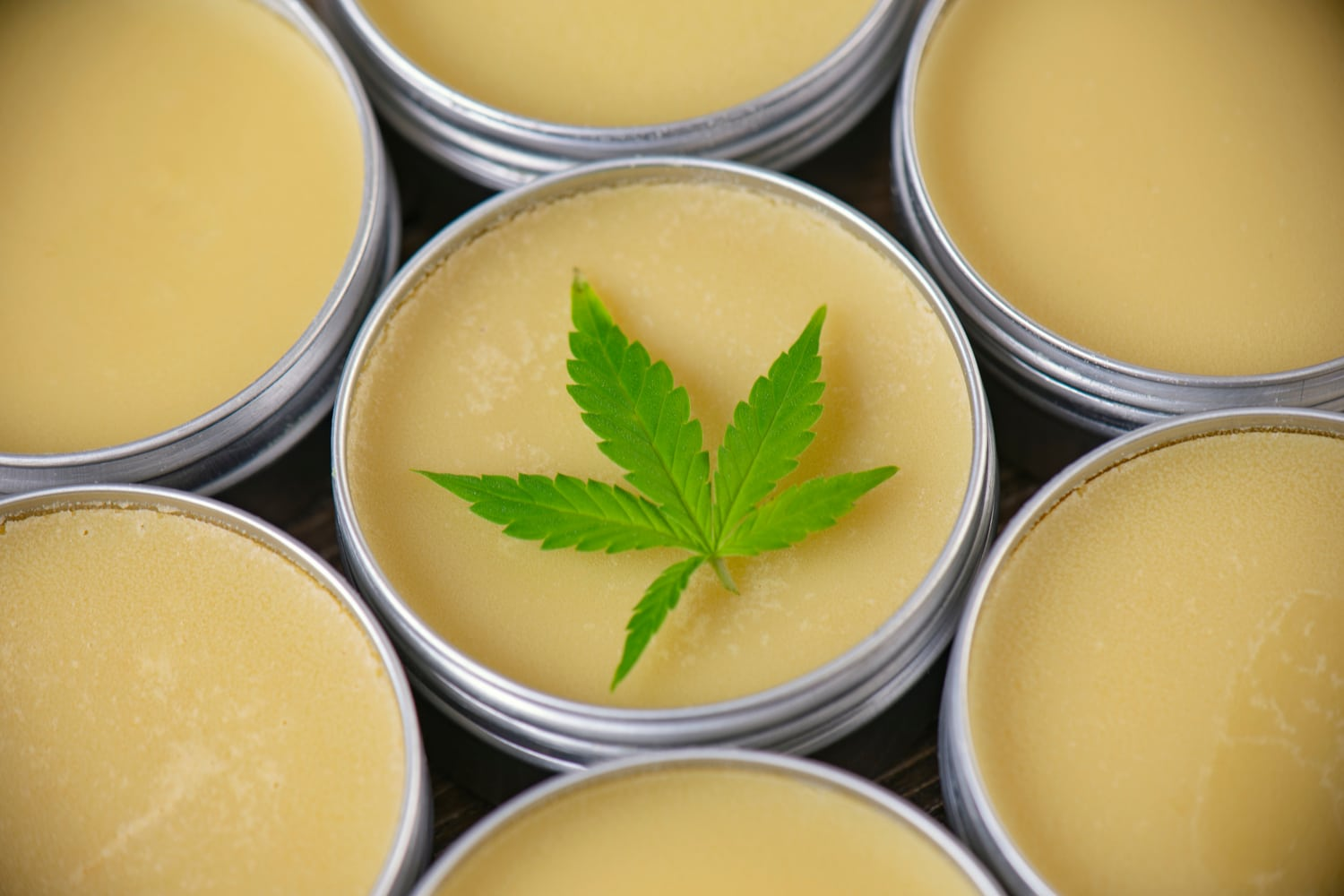 Cannabis leaf resting on cannabis topical