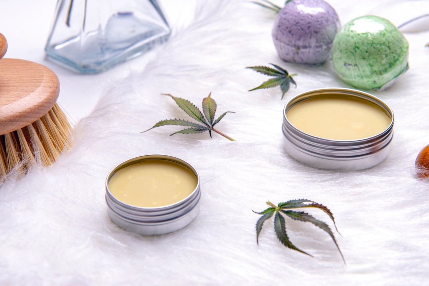 cannabis topicals with bath balms and brush