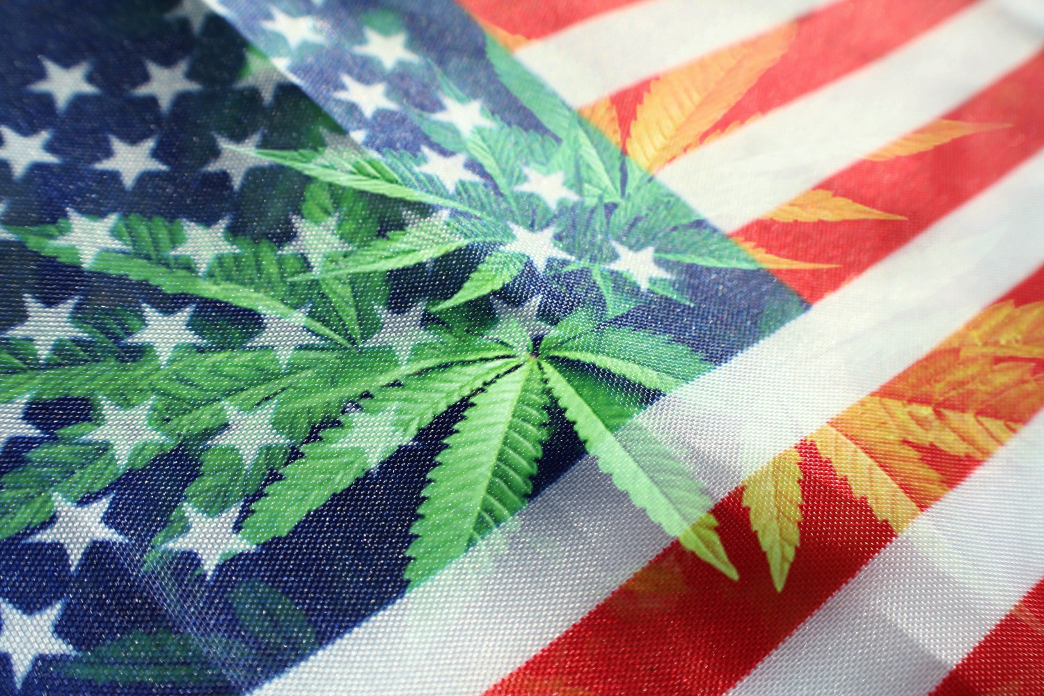 pot leaf in front of american flag